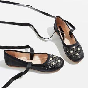 TopShop Kisses Pearl Ballet Flats sz 7.5
